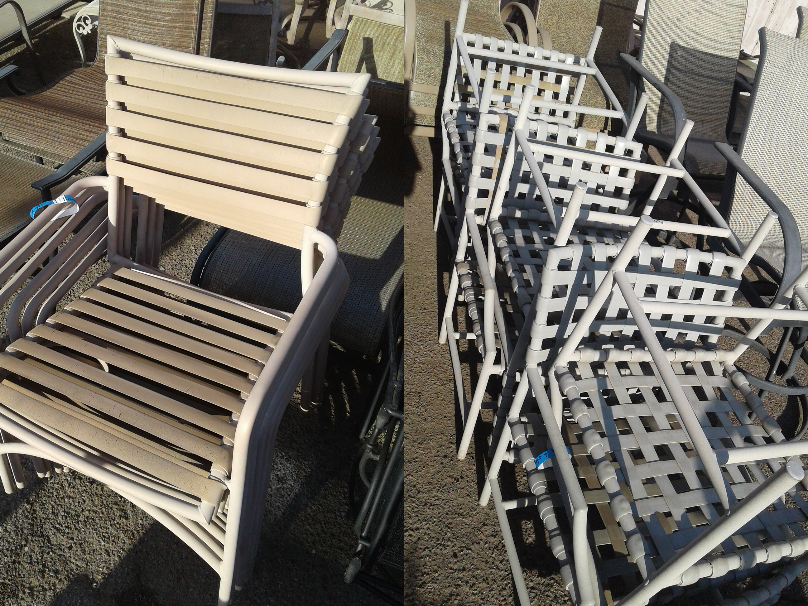 Vinyl Strap Replacement Service   Chairs - BEFORE