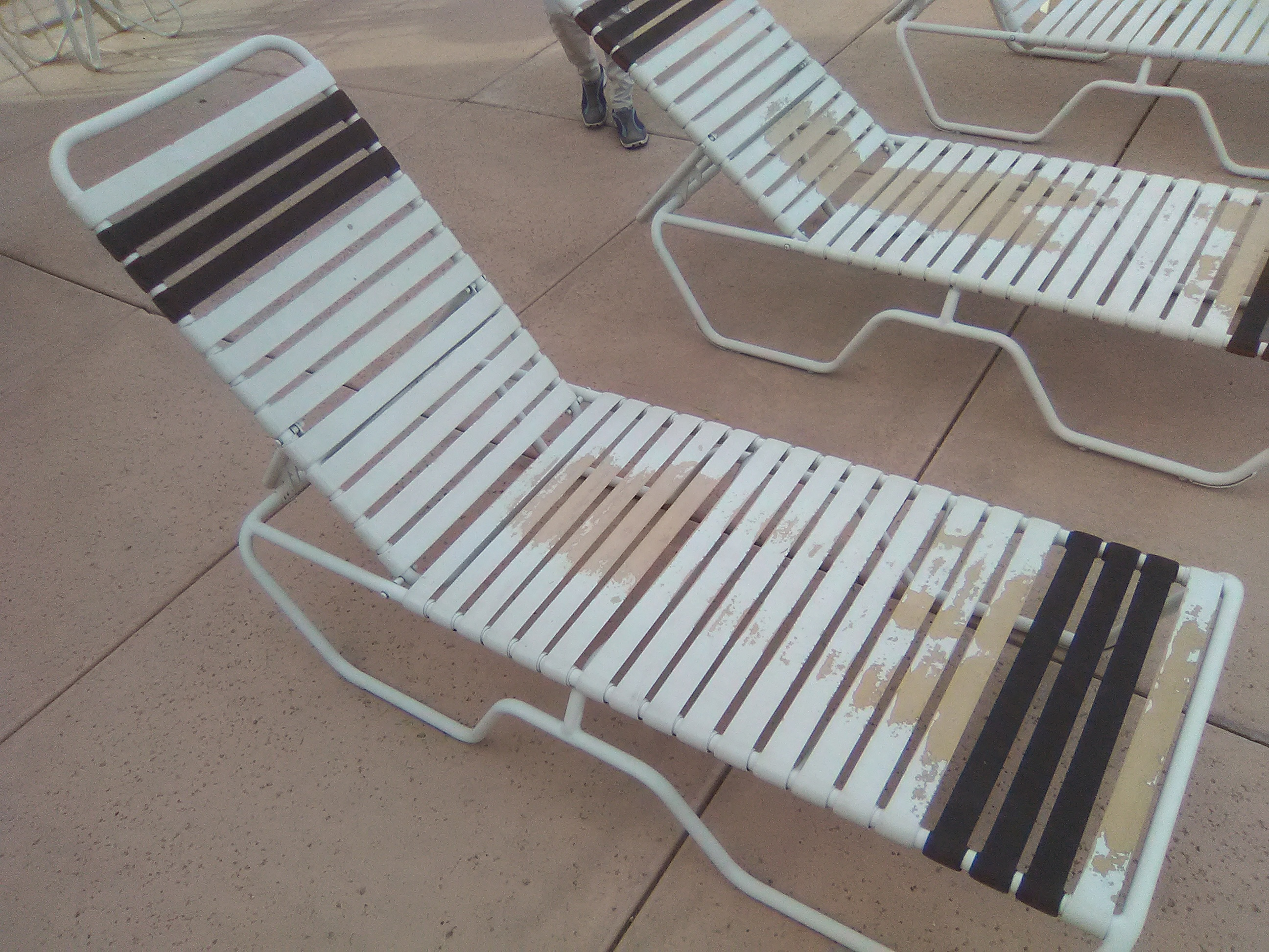 Vinyl Strap Replacement Service | Chaise Lounges - BEFORE