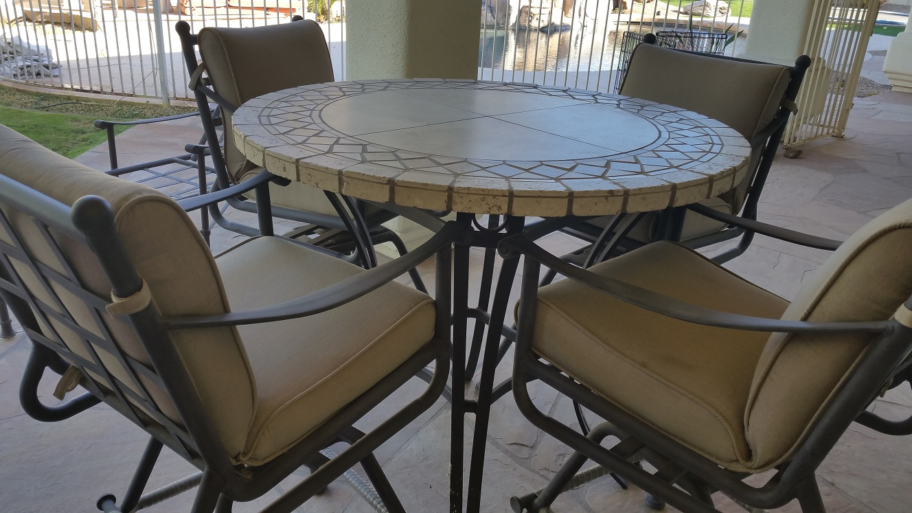 Table Top Restoration Service | Travertine Dining Table - BEFORE