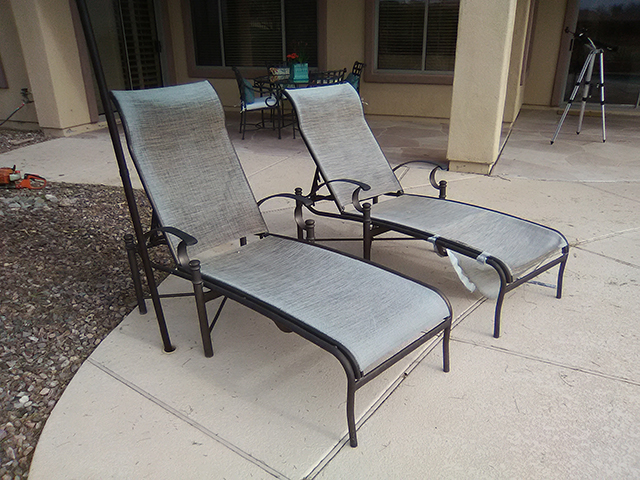 Sling Replacement Service | Sling Chaise Lounges - BEFORE