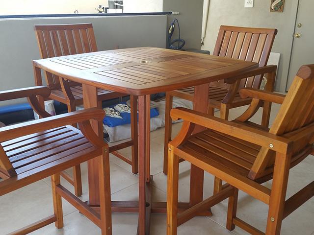 Teak Restoration Service   Bar Table - AFTER