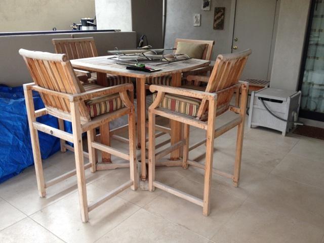 Teak Restoration Service   Bar Table - BEFORE