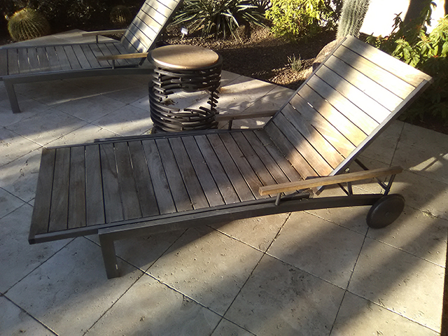 Teak Restoration Service   Chaise Lounges - BEFORE
