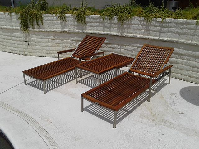 Teak Restoration Service   Chaise Lounges and table - AFTER