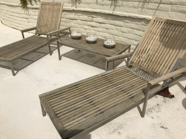Teak Restoration Service | Chaise Lounges and Table - BEFORE