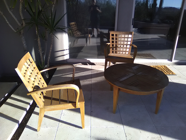 Teak Restoration Service   Sitting Set - BEFORE
